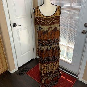 90s Bila India Gauze Tribal Maxi Dress Bohemian